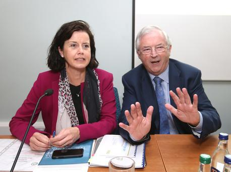 FBD ceo Fiona Muldoon and chairman Michael Berkery, who announced he is to step down, picturd at the company's recent egm. Photo: Damian Eagers