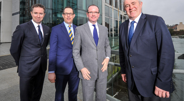 Pictured at the announcement are Ruairi O'Connor, general manager, The River Lee; Conor Healy, chief executive, Cork Chamber; Pat King, chief executive, the Doyle Collection; and Bob Savage, managing director of EMC Ireland Photo: John Allen