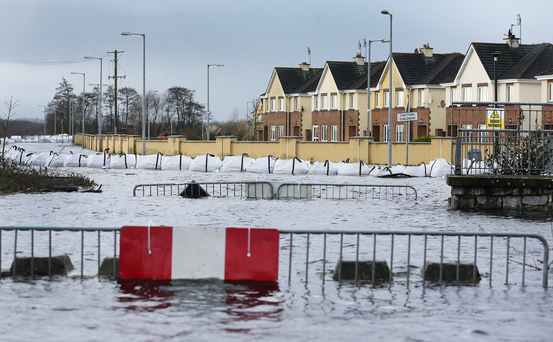 Flooding in Athlone, one of the areas badly hit in the winter storms. There are now homes in many parts of Ireland that are going to be flooded so often that there is no way an insurance company can ever cover them. Photo: Steve Humphreys