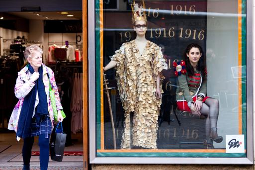 Students from Galway Technical Institute (GTI) exhibiting some outfits in a LIVE windows show at Anthony Ryans on Shop Street in Galway City. The exhibit is part of GTI's Fashion Fiesta 2016.