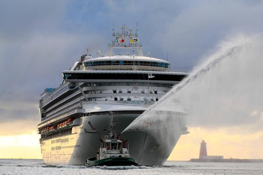 The Grand Princess with almost 4,000 passengers and crew sailing into Dublin Port.