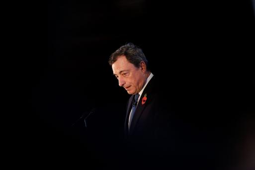 European Central Bank President Mario Draghi. The ECB's own data suggests that quantitative easing has had little effect on kick-starting the Eurozone's 'real' economy. Photo: Simon Dawson/Bloomberg