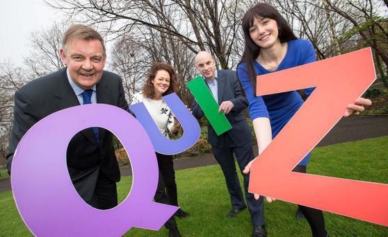 Pictured at the launch is Bryan Dobson, RTE newscaster and BJA quizmaster; Justyna Drogomirecka, corporate fundraising manager, Dublin Simon Community; Irish Independent business editor Donal O'Donovan, who is chairman of the Business Journalists Association of Ireland; and Catherine Walsh, senior consultant, The Reputations Agency.