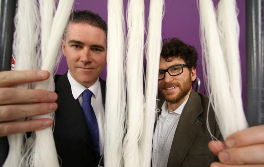Professor Eoin Casey and Dr Eoin Syron, two of the founders of Irish university spin-off OxyMem. Photo: Nick Bradshaw