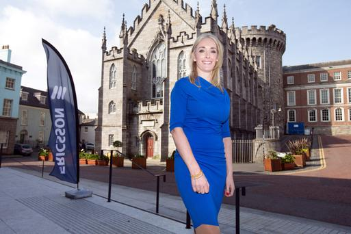 Zelia Madigan, managing director of Ericsson Ireland, speaks at the Ericsson Women in Technology Conference in Dublin Castle. Photos: Tony Gavin