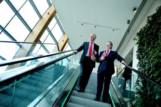 Dalata non-executive chairman John Hennessy, left, and CEO Pat McCann at the group's AGM yesterday. Photo: Maxwells