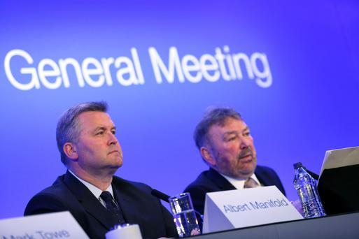 CRH chief executive Albert Manifold and chairman Nicky Hartery at the AGM. Photo: Gary O'Neill