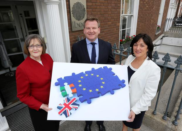 Retired Supreme Court judge Fidelma Macken, Chair of the Irish Centre for European Law and a former European Court of Justice Judge; Ibec CEO Danny McCoy; and Anne Heraty, the CEO of Cpl Resources, at yesterday's Ibec conference. Photo: Gary O'Neill