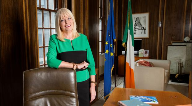 Minister of Jobs, Enterprise and Innovation Mary Mitchell O'Connor in her new office at Leinster House. Photo: David Conachy