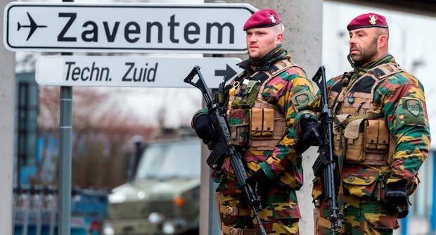Troops at Brussels airport in the aftermath of the attack. Photo: AP
