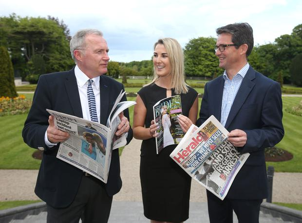 Jim Bilton, ceo of Wessenden Marketing; Ashling Curtis, marketing executive, Newspread; and Ian Keogh, ceo, Newspread, before the conference, 'Agenda Retail 360: Making the most of Newspapers & Magazines in Retail', held at the Radisson Blu St Helen's Hotel, Stillorgan, Co Dublin, yesterday. Photo: Damien Eagers