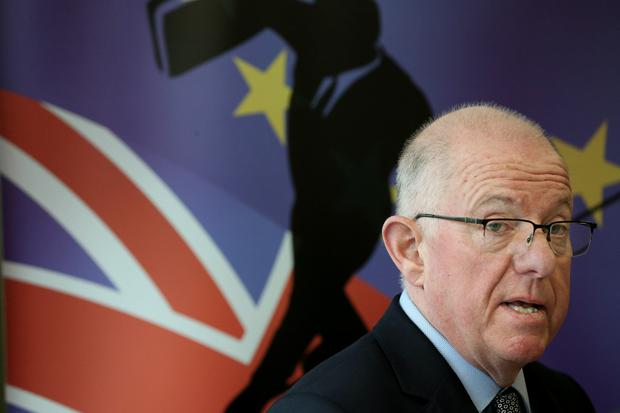 Foreign Affairs Minister Charlie Flanagan addresses yesterday's conference. Photo: Maxwells