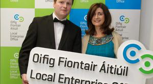 Award winner Mark Clendennen, of Applied Concepts in Offaly, and Orla Martin, head of enterprise with Local Enterprise Office Offaly. Joe Keogh