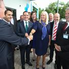 Jobs Minister Mary Mitchell O'Connor is greeted by Surmodics executives. Also present are IDA ceo Martin Shanahan, Minister Denis Naughten and Surmodics' Tom Greaney. Photo: Aengus McMahon