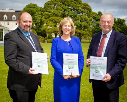 Kieran Comerford of the Local Enterprise Offices, Deirdre Parkinson of Microfinance Ireland and Richard Murphy of Enterprise Ireland at the launch of the mentoring support programme yesterday. Photo: Keogh Photography