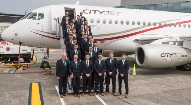 The Irish Euro 2016 squad flew out to France with CityJet