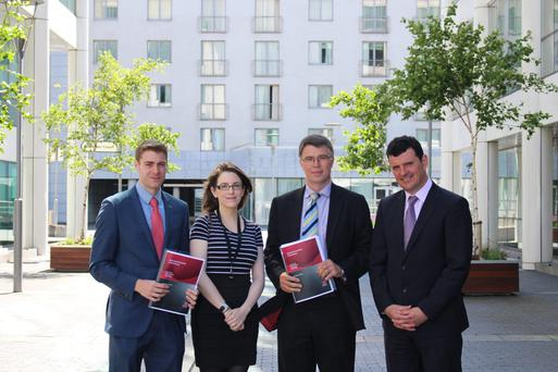 The ESRI's Daniel Foley, Ciara Morley, David Duffy and Kieran McQuinn at the presentation of the think-tank's latest economic assessment in Dublin yesterday