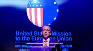 US Ambassador to the European Union Anthony Gardner as he makes his speech at the American Chamber of Commerce of Ireland Lunch in Dublin