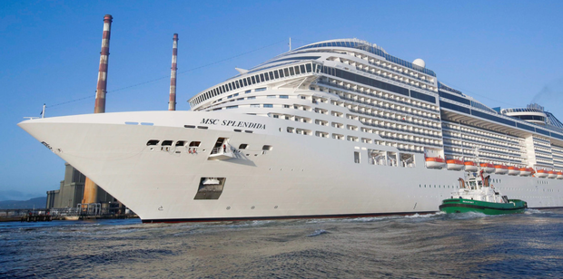The MSC Splendida cruise liner being towed stern first into Dublin Port last year. The Splendida, ranked the 11th-longest cruise ship in the world, is the longest ship ever to call at the port.