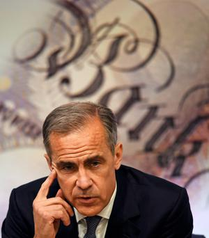Bank of England governor Mark Carney speaks during a news conference at the Bank of England in London yesterday. Photo: PA
