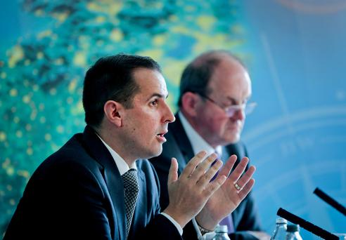 IDA ceo Martin Shanahan and chairman Frank Ryan reporting on the first half of the year results in Dublin. Photo: Maxwells