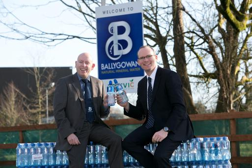 Kevin Donnelly, managing director of Britvic Ireland, with minister Simon Coveney at the Ballygowan plant in Limerick