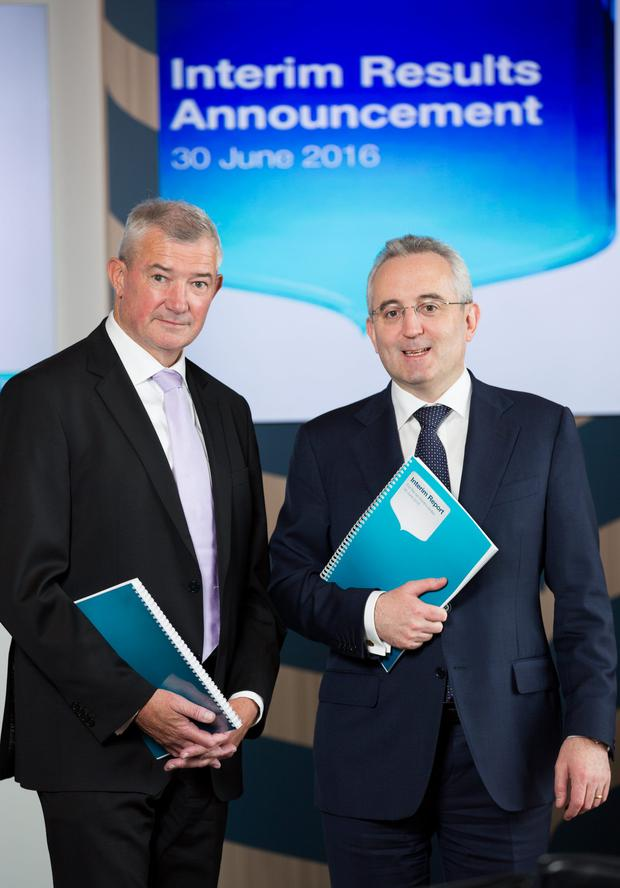 Chief executive Richie Boucher and chief financial officer Andrew Keating present Bank of Ireland's 2016 interim results. Photo: Naoise Culhane