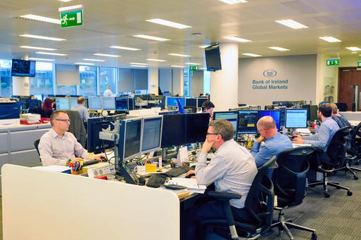 The Bank of Ireland Global Finances trading floor in Dublin. It and AIB were the two banks measured in the stress tests