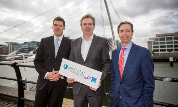 Paul Kavanagh, Head of Partnerships, Cisco Ireland; Stephen Rae, Editor-in-Chief, INM; and Bill Archer, Managing Director, eir Business, at the launch of Dublin Info Sec 2016. Photo: Mark Condren