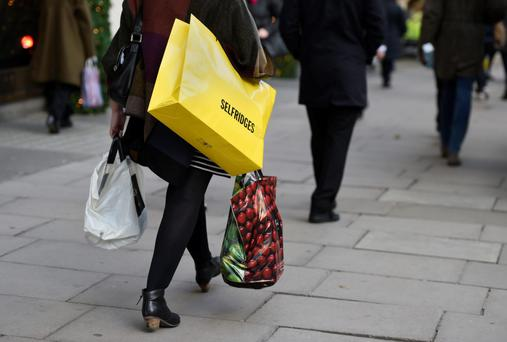 A shopper on London's Oxford Street as data revealed a 0.6pc rise in consumer prices