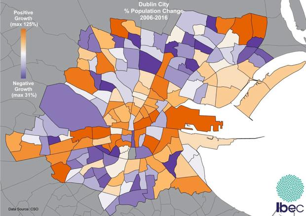 Ibec graph of changes to the capital's population