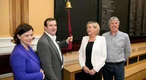 Hostelworld chief financial officer Mari Hurley, its ceo, Fergal Mooney; Irish Stock Exchange ceo Deirdre Somers; and Hostelworld chief technology officer John O'Donnell at flotation last year