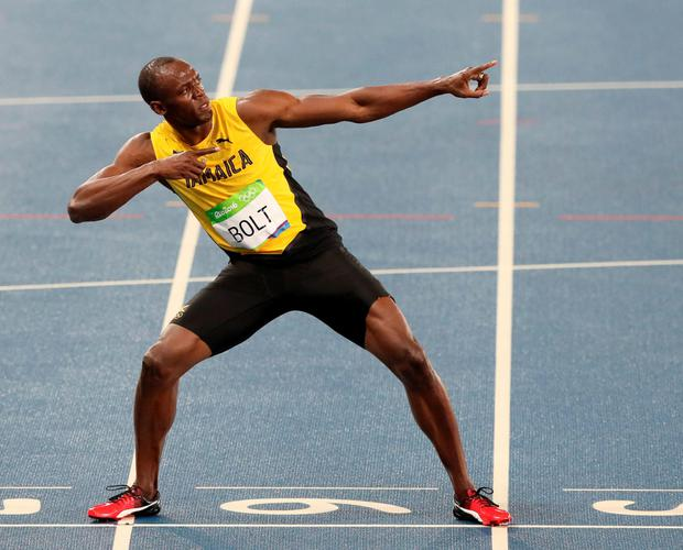 Jamaica's Usain Bolt celebrates winning the Men's 200 Metre final at Olympic Stadium at the Rio Olympic Games
