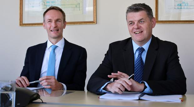Cfo Ryan Preston and ceo Robert Pitt at the announcement of the INM interim results to June 2016. Photo: Frank McGrath