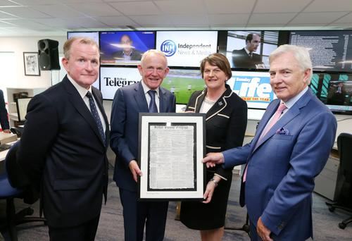Richard McClean, managing director, INM Ltd; Leslie Buckley, chairman, Independent News & Media PLC; first minister Arlene Foster; and Len O'Hagan, board member Independent News & Media PLC.