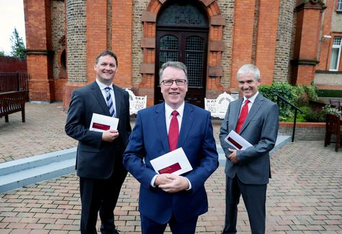 Stephen McNally, deputy chief executive; Pat McCann, ceo; and Dermot Crowley, deputy ceo and business development, at the announcement of results at the Clayton Hotel in Dublin. Photo: Maxwells