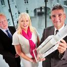 David Gibbons, manager of ESA Space Solutions Centre Ireland; Minister for Jobs, Enterprise and Innovation Mary Mitchell O'Connor; and Franco Ongaro, ESA's director of technical and quality management, pictured in the Tyndall National Institute, Cork at th