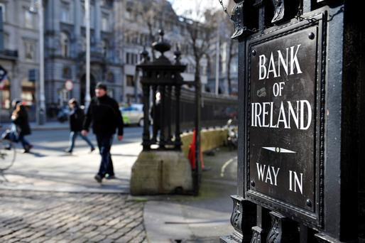 Moody's Investors Service rates Bank of Ireland's senior bonds at its second-lowest investment grade and AIB's note has a junk rating