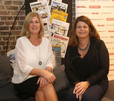 Independent News & Media's Karen Preston (left) and Mairead Kearns (right), at the NewsBrands Ireland town hall event in Smock Alley Theatre, Dublin. Photo: Damien Eagers