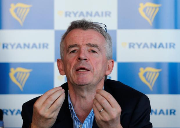 Ryanair chief executive Michael O'Leary at the press conference at Titanic Belfast
