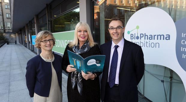 Jean Delaney, PwC Ireland pharma leader, Mary Mitchell O'Connor and Johnathon Marshall, PwC UK, yesterday