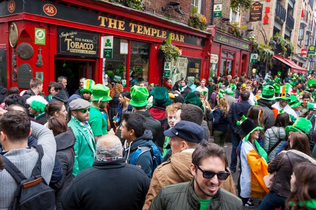 St Patrick's Day crowds in Dublin's Temple Bar