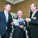 Ronnie Foreman, managing partner, Foreman Consultants (centre) with left TJ Malone, ceo of Actavo, and Jerry Mallot, president, JAX USA Partnership, at the JAX USA Partnership presentation to Irish businesses in Dublin's Shelbourne Hotel