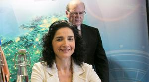WP Engine ceo Heather Brunner and Finance Minister Michael Noonan at the announcement