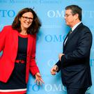 European Union Trade Commissioner Cecilia Malmstrom with World Trade Organisation Director-General Roberto Azevêdo after a meeting of the WTO public forum at the body's headquarters in Geneva yesterday