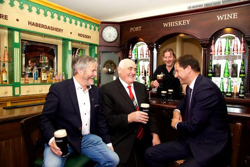 Enda O'Coineen, president, Irish Pubs Global Federation; Senator Billy Lawless; and Brian Gallagher, senior manager, AIB Corporate Banking, at the Irish Pubs Global Federation gathering in the Citywest Hotel yesterday. Photo: Lensmen