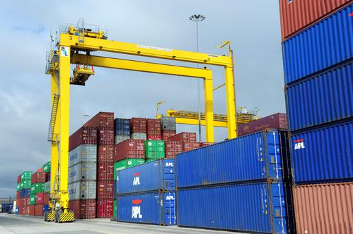 Preliminary figures for August show that seasonally adjusted goods exports rose by €1.4bn, or 16pc, to €10.3bn compared with July, while imports fell by 2pc. Photo: Bloomberg