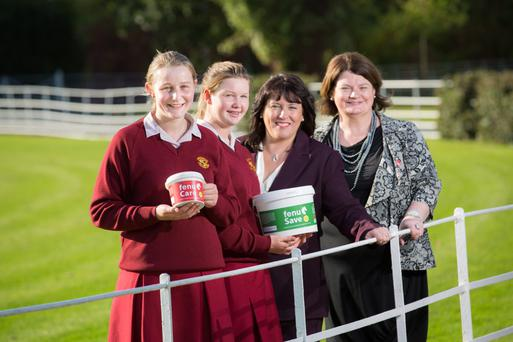 Former Young Scientists winner Kate and Annie Madden, the co-founders of FenuHealth, with PMI Educational Foundation liaison officer Jackie Glynn, and Young Scientist competition head Mari Cahalane, at NovaUCD, the centre for new ventures and entrepreneurs
