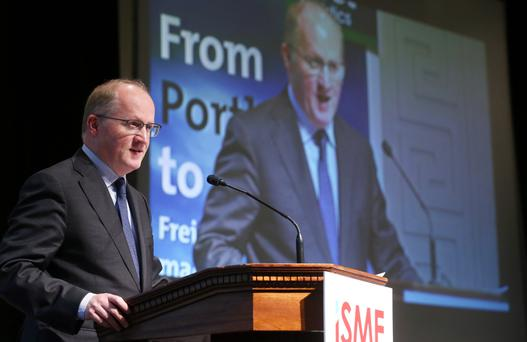 Philip Lane, Governor of the Central Bank, addresses the ISME annual conference yesterday, where he spoke of Brexit's implications for small businesses. Photo: Jason Clarke