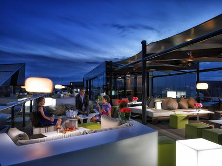 The Rooftop Bar and Terrace at the Marker Hotel in Dublin's docklands area